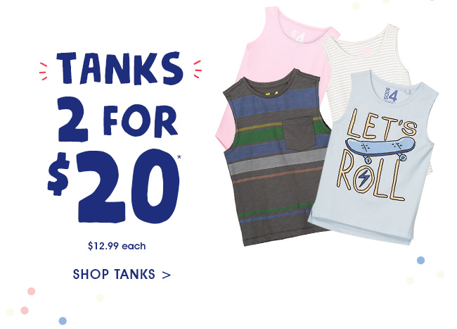 Shop 2 for $20 Tanks