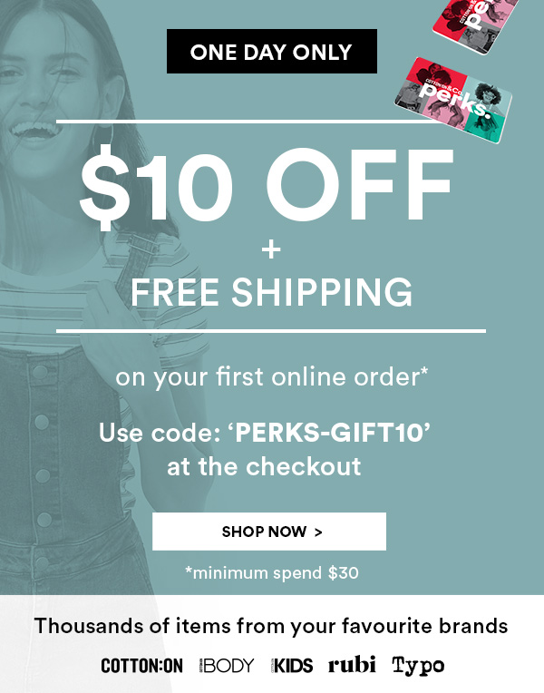 $10 off + Free Shipping on your first order.